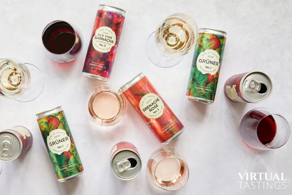 Canned wine tasting selection